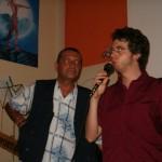 Con Andrea G. Pinketts che mi presenta al suo Trottoir a Milano